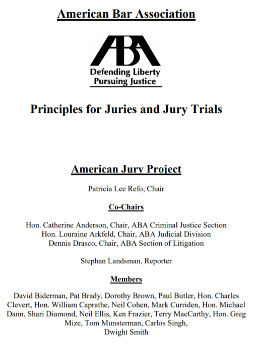 Principles for Juries and Jury Trials